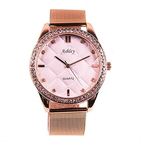 Ashley Princess' Chic Diva, Ladies Rose Gold Steel Mesh with Fancy Quilt Design dial with Beautiful Stones Decorating Trim & Positioned Elegantly on dial as time Indicators - 8699 Rose (Gold Fancy Design)