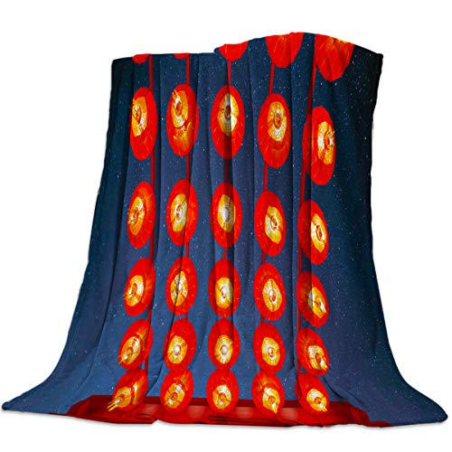 Luxury Flannel Fleece Throw Blanket Super Soft Warm Fuzzy Plush Microfiber Lightweight Throw Couch Chair Bed Blankets for Fall Winter Spring - Queen 50x80 Inch Chinese Red Lantern