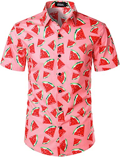 Short Sleeve Novelty - JOGAL Men's Cotton Button Down Short Sleeve Hawaiian Shirt XX-Large PinkWatermelon
