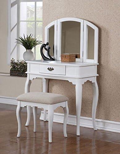 Poundex Vanity w Stool, White by