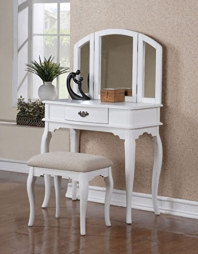 Poundex Vanity w Stool, White by