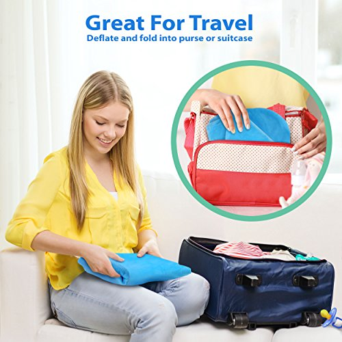 No More Sore Muscles! Compact Breast Feeding Pillow for Traveling Portable Breastfeeding Support Cushion with Removable Plush Minky Cover Royexe The Original Inflatable Nursing Pillow with Slipcover