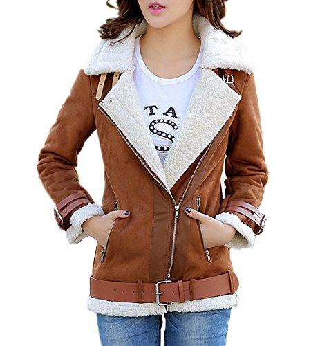Lightweight Shearling Coat (Lemosery Women's Stylish Sheepskin Suede Leather Cashmere Shearling Oblique Zipper Coat Jacket)