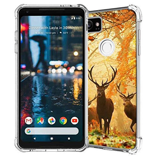 Google Pixel 2 XL Case, SuperbBeast Slim Thin Scratch Resistant TPU Bumper Gel Rubber Soft Skin Silicone Protective Case Cover for Google Pixel 2 XL 2017 (Deers In Forest Pattern)