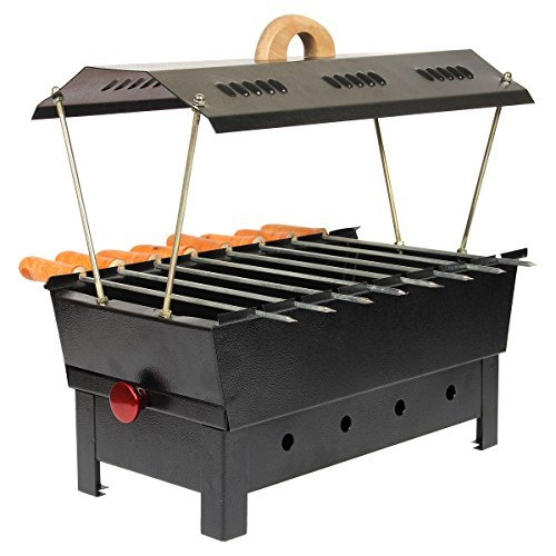 Rahs Iron Charcoal Grill (8 Skewers,Matte Black)