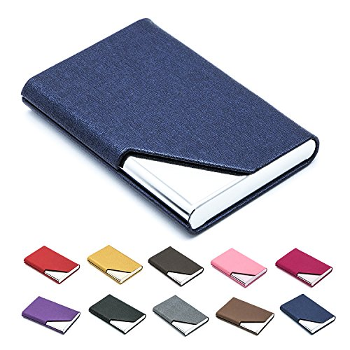 (Business Name Card Holder Luxury PU Leather & Stainless Steel Multi Card Case,Business Name Card Holder Wallet Credit Card ID Case/Holder for Men & Women - Keep Your Business Cards Clean (Blue) ¡­)