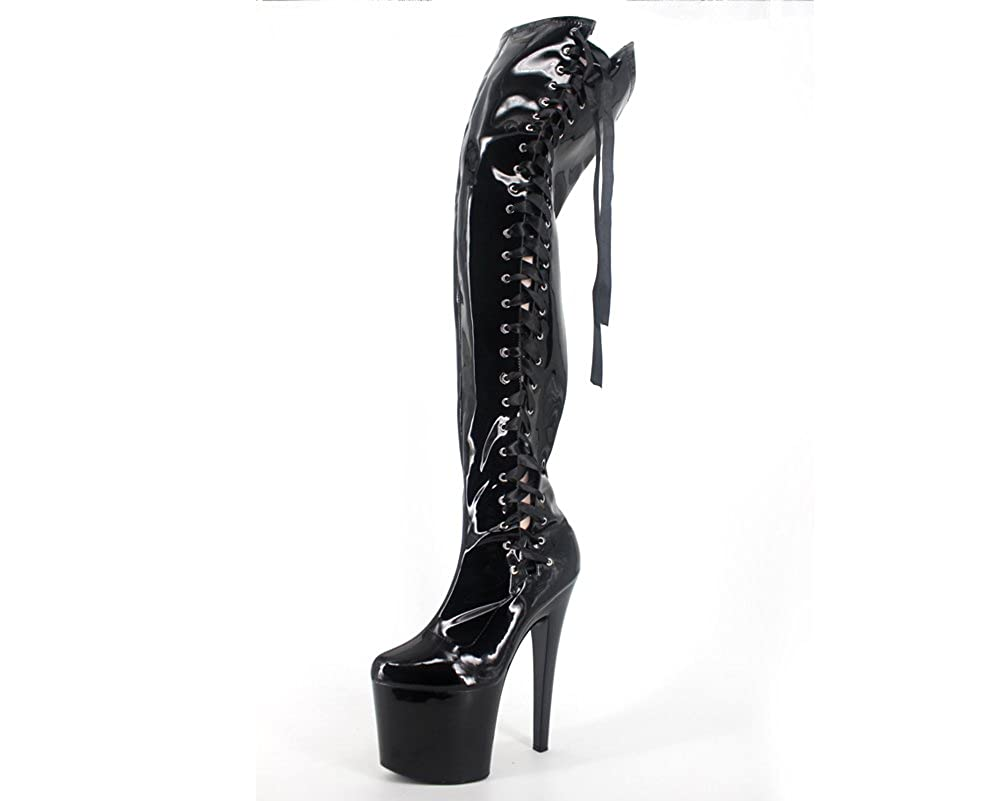WONDERHEEL Stiletto lace Heel Platform Over Knee lace Stiletto up Stiefel - e0208d