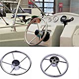 HOFFEN Boat Stainless Steel Steering Wheel 5 Spoke 25 Degree 13-1/2'' For Marine Yacht