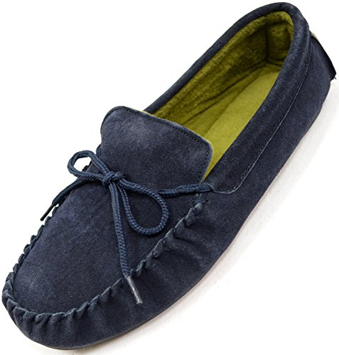 Mens Traditional Genuine Suede Leather Moccasin/Slippers with Rubber Sole - Navy - 9 (Navy Suede Moccasins)