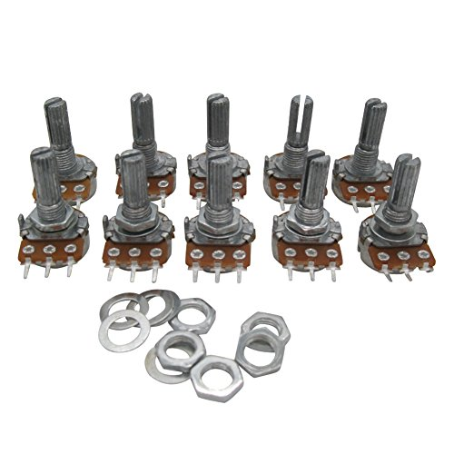 Taiss/10pcs 10K Ohm 3 Terminals Linear Taper Rotary Audio B Type Potentiometer, Volume Control Potentiometer B10K