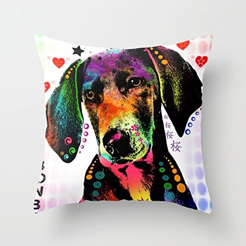 Dogs Pillow Covers,for Christmas Gift, Seat, Car Seat, Bedroom Decor, Shop, Diwan, Thanksgiving Day, Gift For Gf, Arbor Day, Coffee House, 18 X 18 Inch / 45 By 45 Cm(twin Sides Printed) (Cover Duvet 42 X 30 X 5)