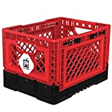 metal milk crate BIGANT Heavy Duty Collapsible & Stackable Plastic Milk Crate - IP403026, 26 Quarts, Small Size, Red, Set of 1, Absolute Snap Lock Foldable Industrial Storage Bin Container Utility Basket