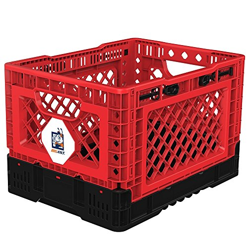 BIGANT Heavy Duty Collapsible & Stackable Plastic Milk Crate - IP403026, 26 Quarts, Small Size, Red, Set of 1, Absolute Snap Lock Foldable Industrial Storage Bin Container Utility Basket