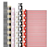 Jillson Roberts 6 Roll-Count All-Occasion Solid Color Gift Wrap Available in 6 Different Assortments, Double-Sided Stripes and Dots
