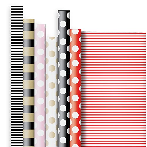 Jillson Roberts 6 Roll-Count All-Occasion Solid Color Gift Wrap Available in 6 Different Assortments, Double-Sided Stripes and Dots by Jillson Roberts