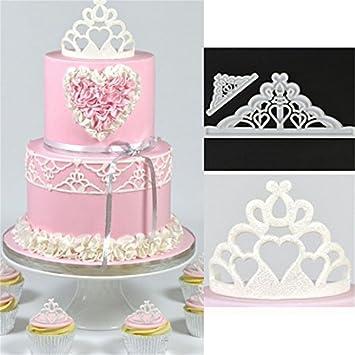 Molde de silicona para fondant de la corona FinMind, moldes de chocolate para decoración de tartas y pasteles: Amazon.es: Hogar