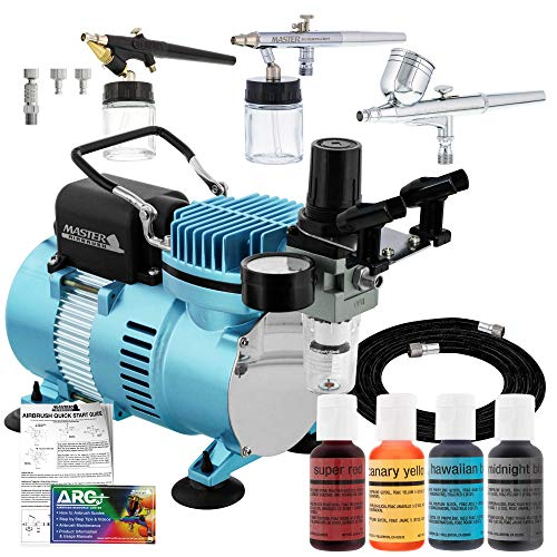 Master Airbrush Cool Runner II Dual Fan Air Compressor Cake Decorating System Kit with 3 Airbrushes, Gravity and Siphon Feed, 4 Color Chefmaster Food Coloring Set - How-to Guide, Hose Cupcake, Cookie