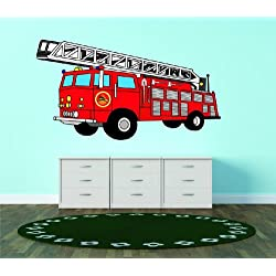 Top Selling Decals - Prices Reduced : DAYCARE CLASSROOM Red Fire Engine Truck Childrens Boys Bedroom Living Room Picture Art Graphic Design Image Mural Size : 24 Inches X 48 Inches - Vinyl Wall Sticker - 22 Colors Available