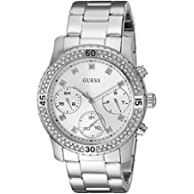 GUESS Women's U0851L1 Sporty Silver-Tone Watch with Silver Dial , Crystal-Accented Bezel and Stainless Steel Pilot Buckle