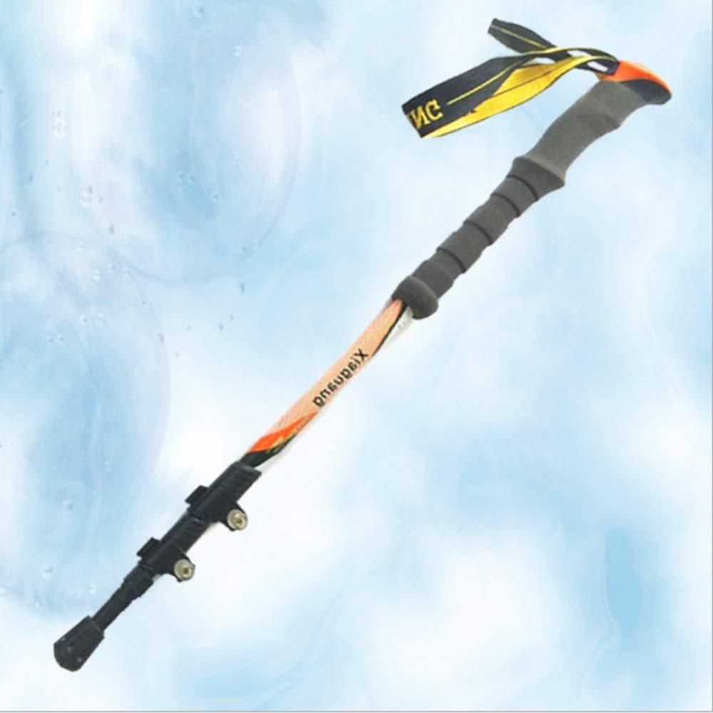 WCS Ultralight Carbon Fiber Trekking Pole für Männer und Frauen (Farbe : Orange)