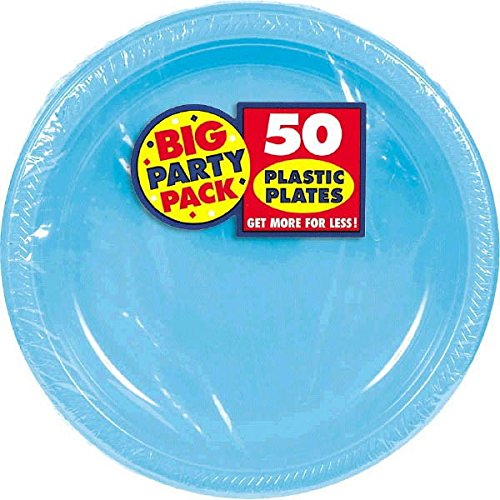 (Carribean Blue, Big Party Pack, Round Plastic Plates 7