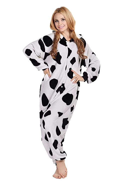amazoncom newcosplay unisex dairy cow pyjamas halloween costume clothing - Halloween Costume Cow