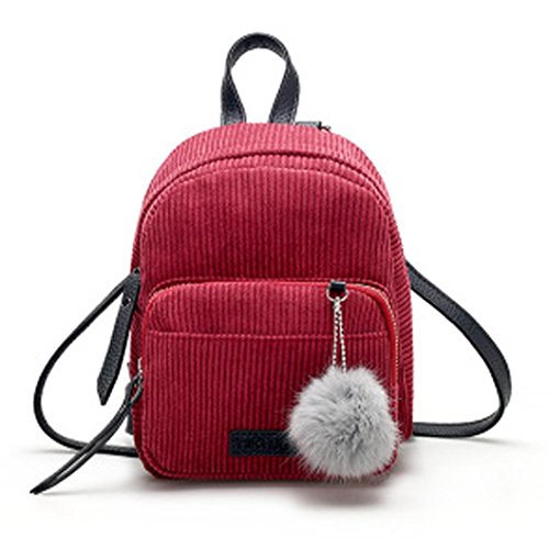 XUANOU Women Mini Corduroy Backpacks Schoolbags Travel Shoulder Bag With Ornaments (Corduroy Diaper Cover)