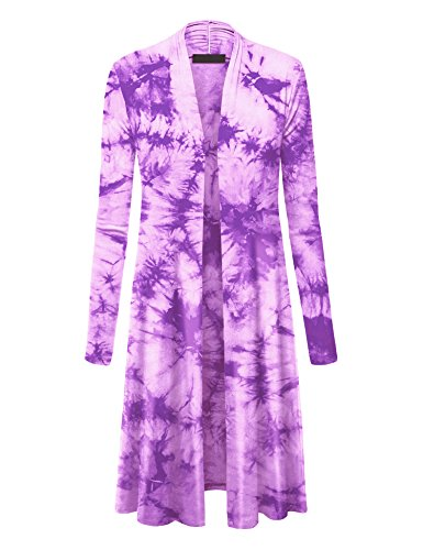 Made by Johnny MBJ WSK1078 Womens Lightweight Tie Dye Open Long Maxi Cardigan M Purple