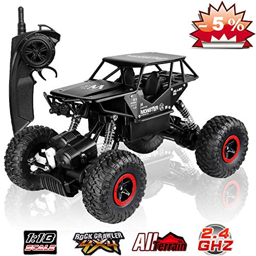 SZJJX RC Cars Off-Road Rock Crawler Truck Vehicle 2.4Ghz 4WD High Speed 1: 18 Radio Remote Control Cars Electric Fast Racing Buggy Hobby Car with Metal Shell (Black) ()