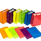 "Adorox (12 Assorted Gift Bags) Large or Small Bright Neon Colored Party Present Paper Gift Bags Birthday Wedding All Occasion (13"" h x 10"" w x 4 1/2"" d)"