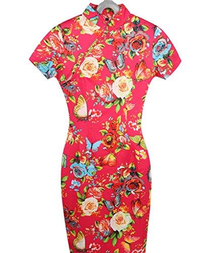 Rouge Chinois Slim Col Robe Qipao Rétro Fleur Bigood Imprimé Classique Élastique Roulé kZPXiwOuT