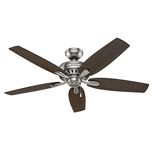 Hunter Indoor Ceiling Fan, with pull chain control – Newsome 52 inch, Brushed Nickel, 53321