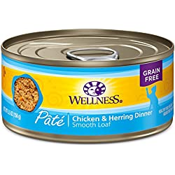 Wellness Natural Grain Free Wet Canned Cat Food, Chicken & Herring Pate, 5.5-Ounce Can (Pack Of 24)