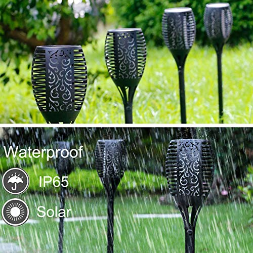 Solar Torch Light, Outdoor Waterproof Flickering Flames Solar Torches Dancing Flames Landscape Decoration Lighting Lamp for Garden Patio Deck Yard Driveway Pathway (4 Pack) by Wiw (Image #2)