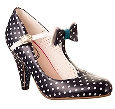 Sarah,P Banned T Bande Années 50 Rétro Style Vintage Chaussures Pois Ou  Nautique ,