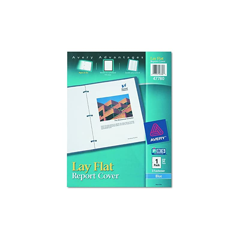 """Avery 47780 Lay Flat View Report Cover w/Flexible Fastener, Letter, 1/2"""" Cap, Clear/Blue"""
