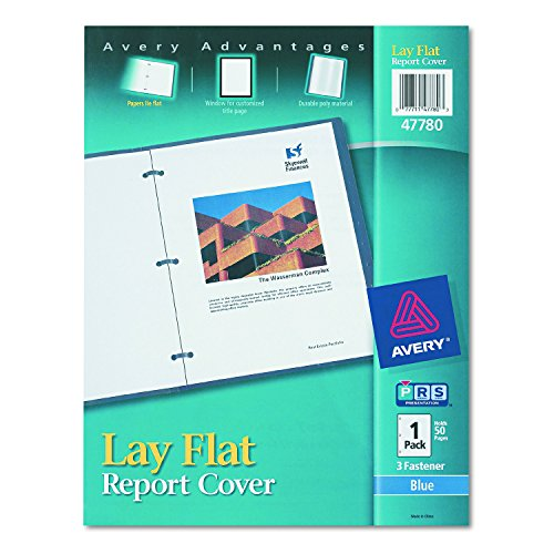 Avery 47780 Lay Flat View Report Cover w/Flexible Fastener, Letter, 1/2