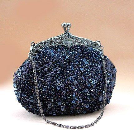 Damas elegantes perlas bordadas höter palancas de, por la noche bolso para fiesta, boda Azul azul cobalto: Amazon.es: Deportes y aire libre