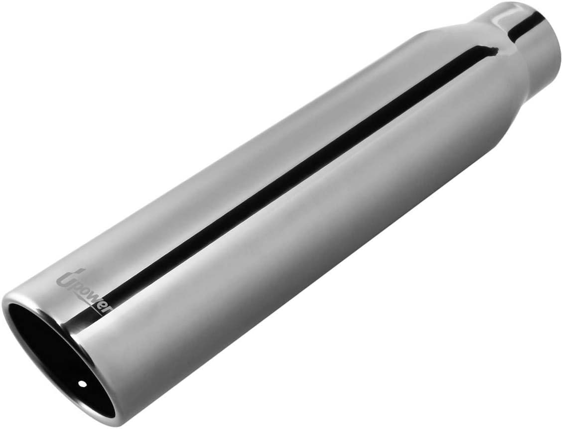 """Polish Stainless Steel Weld On Exhaust Tip Tail Pipe 2.5/"""" Inlet 4/""""Outlet 12/""""Long"""