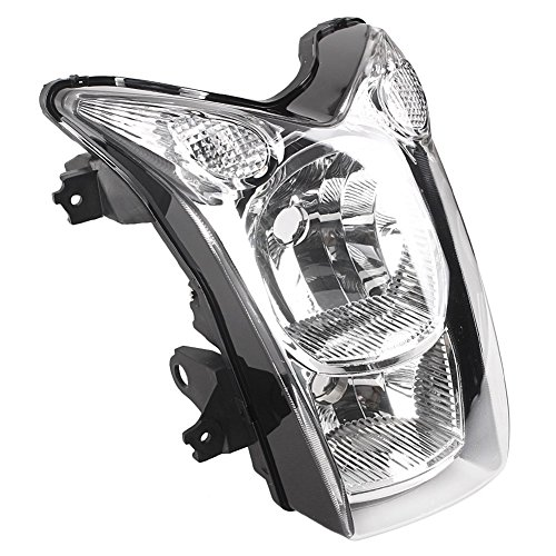 Mallofusa Motorcycle Front Headlight Headlamp Assembly Compatible for Kawasaki ER-6N 2009 2010 Clear Lens