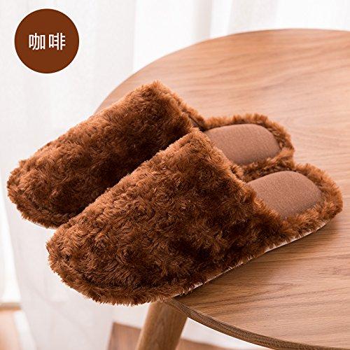DogHaccd pantofole,Nella caduta di un paio di pantofole di cotone caldo inverno piscina soggiorno home pavimento in legno uomini e donne anti-slittamento spesso calda felpa pantofole,Il caffè46-47