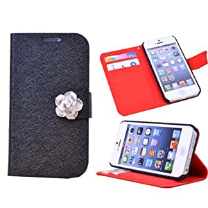 Flipcase PU Leather Purse Wallet Case With Bling Flower Cover for iPhone 5 5G 5S Black