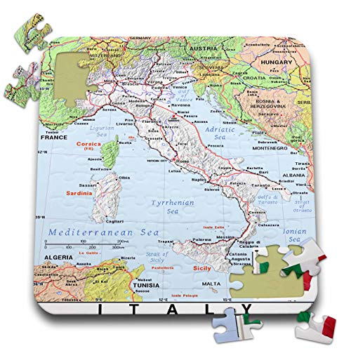 3dRose Lens Art by Florene - Topo Maps with Flags - Image of Map of Italy with Flag and Surrounding Countries - 10x10 Inch Puzzle (pzl_299560_2)