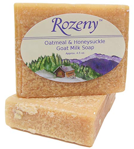 - Rozeny Premium Goat Milk Soap - All Natural - (2 bars approx. 4.5 oz. each) - Oatmeal & Honey