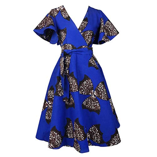 Mocure Women's African Style Sexy Deep V Floral Print Dress Bubble Skirt Pleated Dress Beach Skirt Swing Dress by Mocure