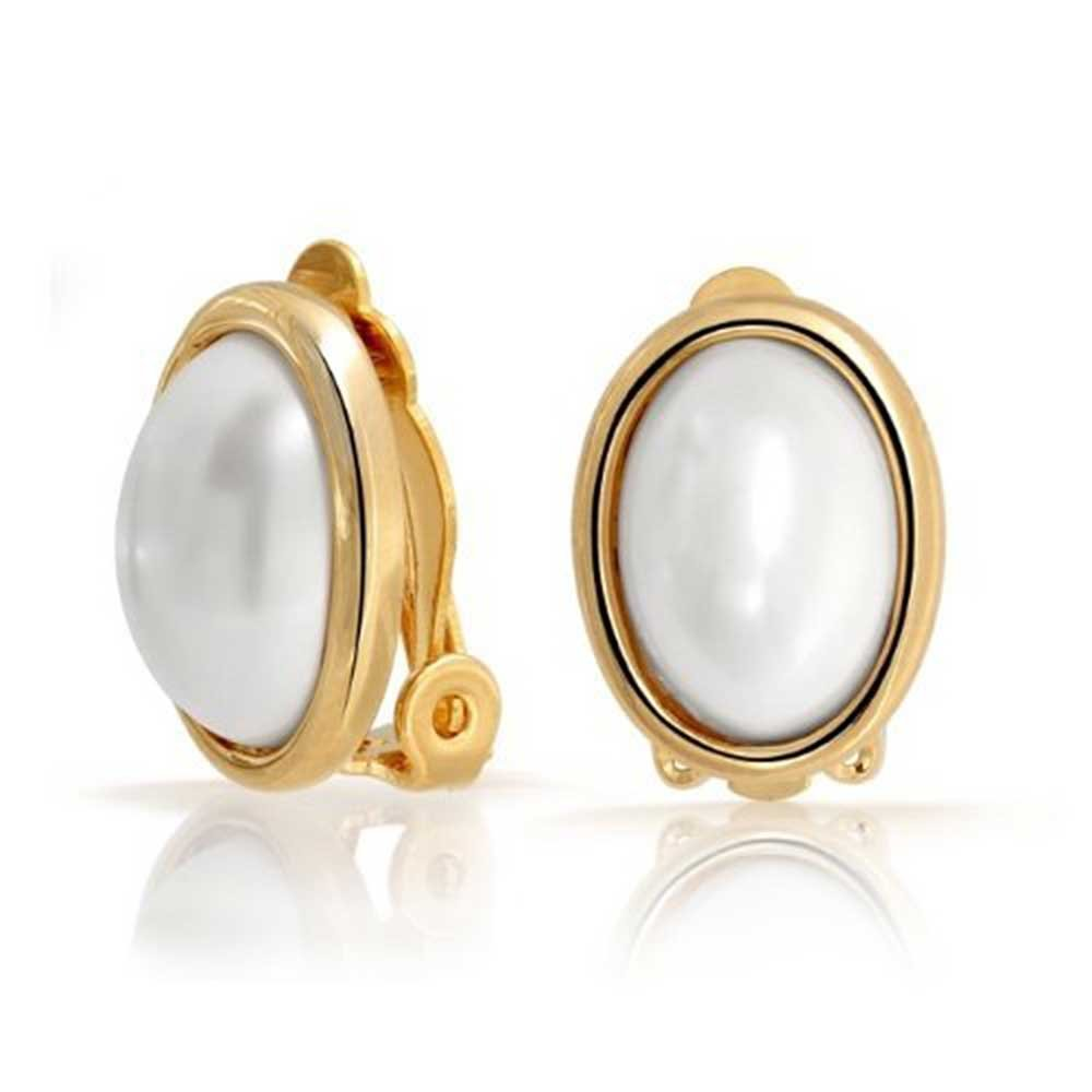 Oval Clip On Earrings Vintage Style White Simulated Pearl Cabochon Gold Plated Brass by Bling Jewelry
