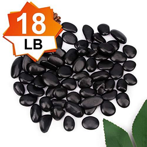[18 Pounds] Black Pebbles Aquarium Gravel River Rock, Natural Polished Decorative Gravel,Garden Outdoor Ornamental River Pebbles Rocks,Black Stones,Polished Gravel for Landscaping Vase Fillers (18.6)