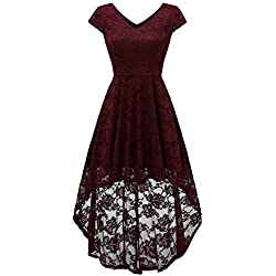 AONOUR AR8010 Women's Floral Lace Formal Dress Cap Sleeve Hi-Lo Cocktail Party Swing Dress Burgundy M