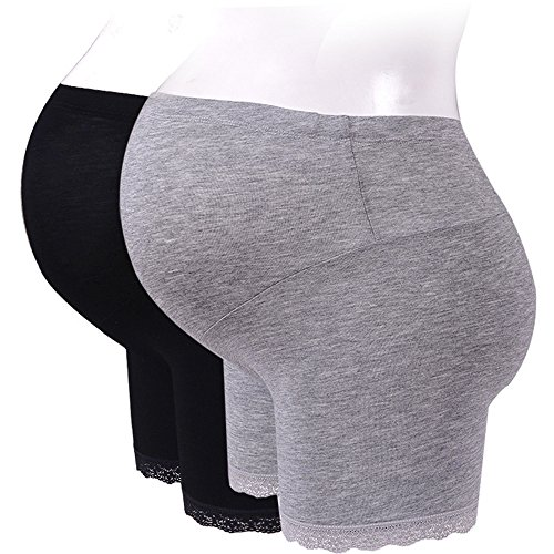 Cyuuro Women's Maternity Shapewear Belly Support Short Leggings, Grey&Black (Belly Basics Maternity Clothes)