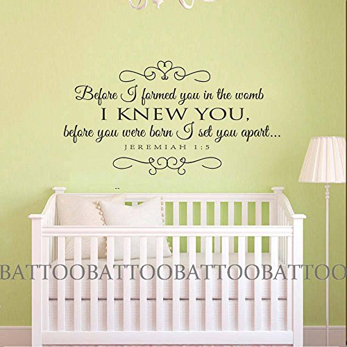 BATTOO Jeremiah 1:5 Nursery Quote Before I formed you in the womb I knew you Vinyl Wall Wecal Baby Room Art Sticker Scripture Bible Verse(Black, 27.5